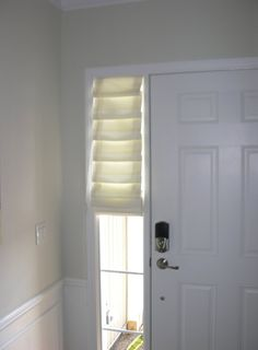 """Great No Cost Farmhouse Front Door with side lights Style Interior designers often refer to art as """"the jewelry of the house,"""" but as it pertains to enhan Front Door Side Windows, Front Door Curtains, Bright Front Doors, Sidelight Windows, Front Door Colors, Blinds For Windows, Windows And Doors, Sidelight Curtains, Front Porch"""