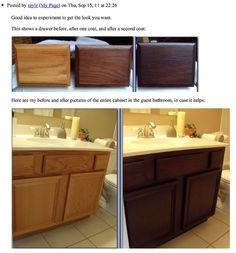 DIY gel staining oak cabinets. If you are tired of looking at oak, this looks like the best way to get 'new' cabinets the cheapest, easiest way possible. And the after looks amazing!.