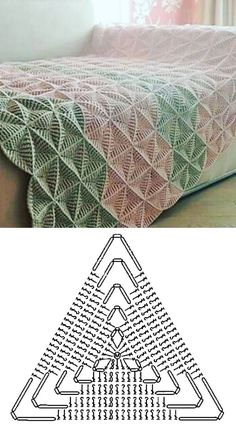 Crochet Bedspread Pattern, Crochet Motif Patterns, Granny Square Crochet Pattern, Crochet Diagram, Crochet Chart, Crochet Designs, Knitting Patterns, Crochet Blankets, Easy Crochet