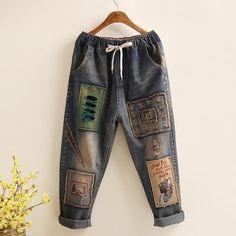 Large Size Women's Retro Style Embroidery Jeans Harem Pants Denim Fashion, Fashion Pants, Retro Fashion, Fashion Fashion, Denim Pants, Harem Pants, T Shirt Hacks, Ali Express, Clothing Hacks