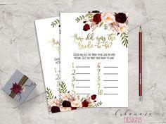 f55498fec72b Items similar to Marsala Printable How old was Bride Bridal Shower Game  Floral Quiz Burgundy Pink Peonies Flowers Wedding Trivia Bridal Quiz -  BG018 on Etsy