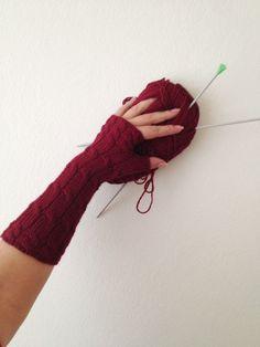Burgundy Fingerless Gloves Armwarmers Hand Knit Chic Winter Accessories Winter Fashion, Valentine's Day