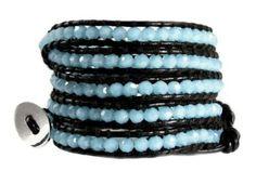 """Amazon.com: Aqua Sea Blue Crystal Bead """"Cyana"""" Genuine Leather Wrap Bracelet; Extra Long 5x Wrap Bracelet: Jewelry"""