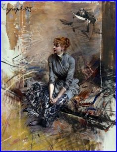 Giovanni Boldini 1842-1931 Italy Portrait de Madame Gabrielle Réjane c.1886 Huile sur toile 68.5 x 54.2 cm Collection privée..jpg