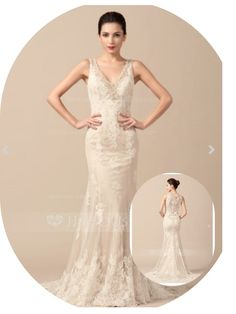 This is a trumpet/mermaid v-neck sweep train tulle wedding dress w/ beading for $303.50. Found on JJ's house. Hope you like.