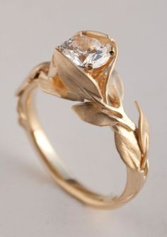 Leaves Engagement Ring No. 7 – 14K Gold and Diamond engagement ring, engagement ring, leaf ring, 1ct diamond, antique, art nouveau, vintage