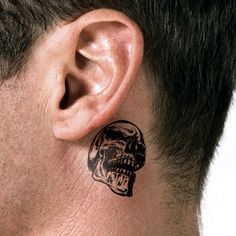 Man with Behind-the-ear Skull Tattoo