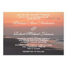 Tropical Beach Ocean Sunset Wedding Invitation 2 This wedding invitation features nature landscape photography of a beautiful tropical orange sunrise with ocean waves lapping the grey sands of the shore. This photo taken on Folly Beach, SC. Great for a coastal, ocean, sunrise, tropical, beach, destination wedding. Matching products available in my shop.