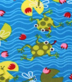 Anti-Pill Fleece Fabric Jumping Frogs