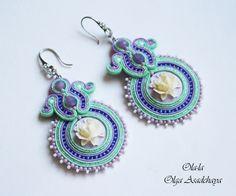 "Earrings ""Delicate lavender"" soutache, Czech glass beads, Japanese beads, cabochons, acrylic, crystal pendants"
