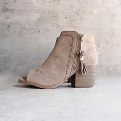 vegan suede tassel block heeled ankle boots - taupe - shophearts - 1