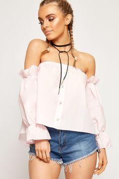 815fef68fc2f8b Megan Bardot Ruffle Gypsy Boho Crop Top