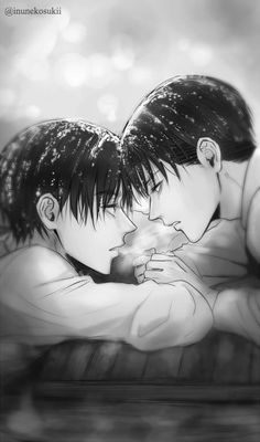 Eren and Levi aka Rose and Jack from Titanic. Wait... aahh, ok, I get it. Titans=Titanic.