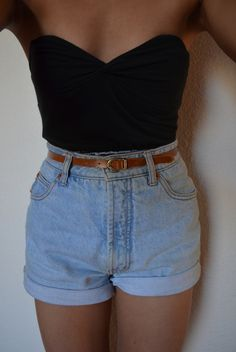 High Waisted Shorts & Bustier Top! In search of the perfect pair for this summer! plus a cardigan!