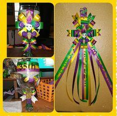 Mardi Gras Birthday Pin & Glass