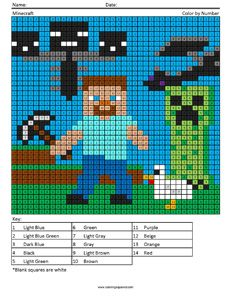 Minecraft- megapixel coloring pages Minecraft Blanket, Minecraft Quilt, Minecraft Pattern, Pixel Art Minecraft, Crochet Minecraft, Minecraft Designs, Alphabet Letter Crafts, Letter Tracing, Minecraft Activities