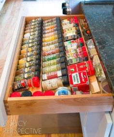 The Spice Drawer – I must have this in my kitchen! – Dee Parker The Spice Drawer – I must have this in my kitchen! The Spice Drawer – I must have this in my kitchen! Kitchen Ikea, Kitchen Redo, Kitchen Pantry, New Kitchen, Kitchen Cabinets, Design Kitchen, Tiny Pantry, 1960s Kitchen, Country Kitchen