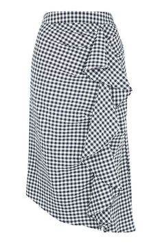 Gingham Ruffle Midi Skirt