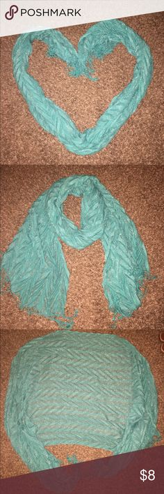 Scarf Cute shiny scarf. Can be used as a wrap/shawl or as scarf. Fringed ends. Sparkly chevron fashion scarf. Turquoise/ teal/ blue Accessories Scarves & Wraps