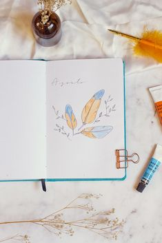 Watercolor and fine liner monthly spread with a feather theme Bullet Journal August, Bullet Journal Monthly Spread, Bullet Journal Inspo, Journal Design, Journal Ideas, Cover Pages, Bujo, Positivity, Watercolor