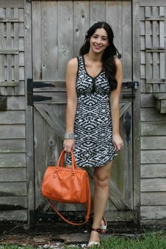 Stitch Fix Reveal: Black and White print dress with beaded neckline -- Love the print. Cut looks very flattering.