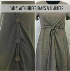 Quarters and rubber bands used on a LulaRoe Carly dress. Lularoe Carly Dress, Lularoe Dresses, Carly Lularoe Styling, Lula Outfits, Diy Outfits, Diy Fashion, Fashion Outfits, Fashion Advice, Fasion