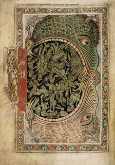 Mouth of Hell, c. 1150. From Winchester Psalter manuscript. Winchester, England.