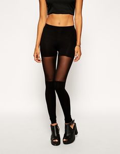 Enlarge ASOS Leggings with over the Knee Mesh Detail