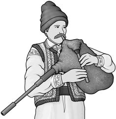 Grayscale images / cimpoi ( Romanian bagpipes )