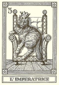 """L'Imperatrice""-- Gatti, by Osvaldo Menegazzi. The deck of 22 tarot cards was published by Il Meneghello in Italy in 1990."