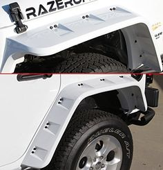Razer Auto Jeep Wrangler JK Bright White Stubby Front & Rear Set Pocket Style with Rivet Fender Flares White Jeep Wrangler Unlimited, Jeep Wrangler Jk, Jeep Pickup Truck, Jeep 4x4, Jeep Wrangler Accessories, Jeep Accessories, Mini Jeep, Jeep Gear, Offroad