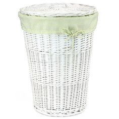 Large Wicker Laundry Hamper in White, Your Pick of Liner Colors