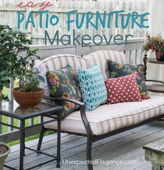 Easy DIY Patio Furniture Makeover for less than $20!!! #FrogTape #ad