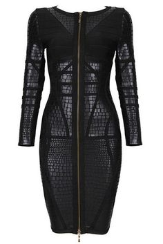 Speak of luxury, and we've got a dress for it! The black luxury zipper is essentially an attachment of elegance to a fine bandage dress. Featuring a full black