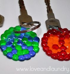Melted Bead key chain - Place plastic beads in a single layer in a muffin tin, leave space for a hole (or you can drill one later).  Heat at 400 degrees for about 30 minutes. Could also make as a charm for a necklace?