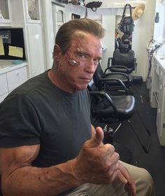 Arnold during a makeup session for TERMINATOR: GENISYS (2015), wearing prosthetics created by Legacy Effects.