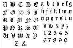 Old English Alphabet stencil from The Stencil Library GENERAL range. Buy stencils online. Stencil code 299.