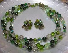 Vintage Costume Jewelry Vendome 3 Strand Green Crystal Necklace Earrings   eBay