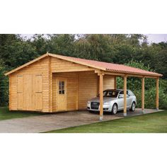 Wood sheds with carports   Tuin 13ft x 27ft (4m x 8.30m) Garage with Carport - 70mm – Next Day ...