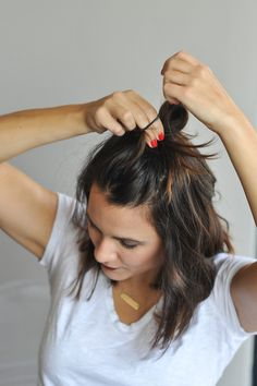 how to do a half top knot for short hair via @mystylevita