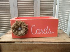 Distressed Coral and White Wedding Cards Box with Burlap Flower Embellishment Wooden Coral Wedding Cards Holder on Etsy, $20.00