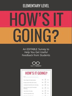 Student feedback is arguably the MOST important feedback you can get as a teacher. This simple form gives you a  printable PDF for gathering that feedback. Includes the original PowerPoint so you can edit it for your own specific needs. ELEMENTARY version appropriate for grades K-6. #CultofPedagogy Cult Of Pedagogy, Feedback For Students, Teacher Boards, End Of School Year, Fifth Grade, Day Work, Getting To Know You, Classroom Management, Teacher Resources