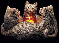 Trio of Cats Candle Lamp - Stone Finish w/ Votive $76.00