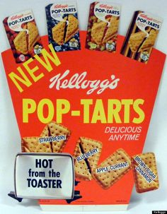 """When Kellogg's first introduced the toaster pastry in 1964, it was unfrosted and came with four flavors: Apple Currant Jelly, Strawberry, Blueberry and Brown Sugar-Cinnamon. In 1967, the first frosted Pop-Tarts hit the shelves with four flavors, as well: Dutch-Apple, Concord Grape, Raspberry and Brown Sugar-Cinnamon. Today, there are over 30 kinds of Pop-Tarts (and many special edition ones).  First called """"Fruit Scone""""."""