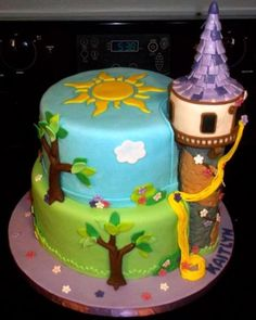 Tangled Birthday Cake with a tower that's not too tall