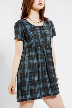 byCORPUS Plaid Babydoll Dress - Urban Outfitters