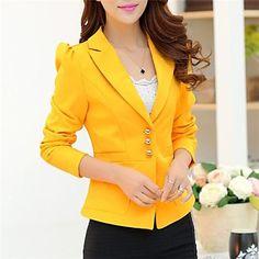 trabalho médio de manga longa blazer regulares das mulheres (misturas de algodão) - BRL R$ 94,21