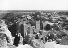 Ruins of the biblical city of Babylon, Babylon, Iraq, April 25, 1932. In the center, bearing animal figures, are the Tower Gates of Ishtar.
