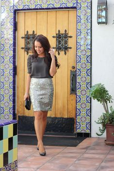 StylishPetite.com | Ann Taylor Sequin Mini Skirt and Theory Silk Blouse | Love the blouse shape here.