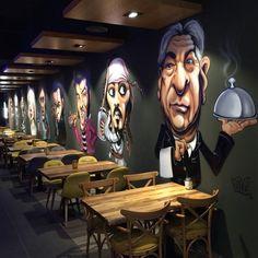 pognote 10 Cool Cafe Cafe Order Ideas WA: 081977713154 If you want to get c Restaurant Interior Design, Shop Interior Design, Cafe Design, Cool Restaurant Design, Deco Restaurant, Graffiti Restaurant, Mural Cafe, Coffee Shop Design, Cool Cafe